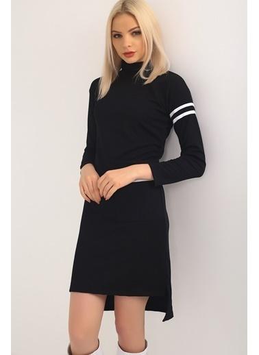 Emjey Kolu Ve Cebi Şeritli Boğazlı Midi Boy Elbise Siyah